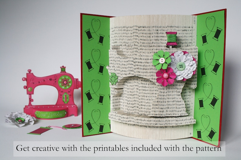 Sewing Machine Book Folding Pattern  Tutorial Cut and Fold image 0
