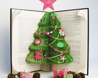 Christmas Tree Book Folding Pattern + Tutorial, Cut and stick, Free printable downloads to embellish your book art
