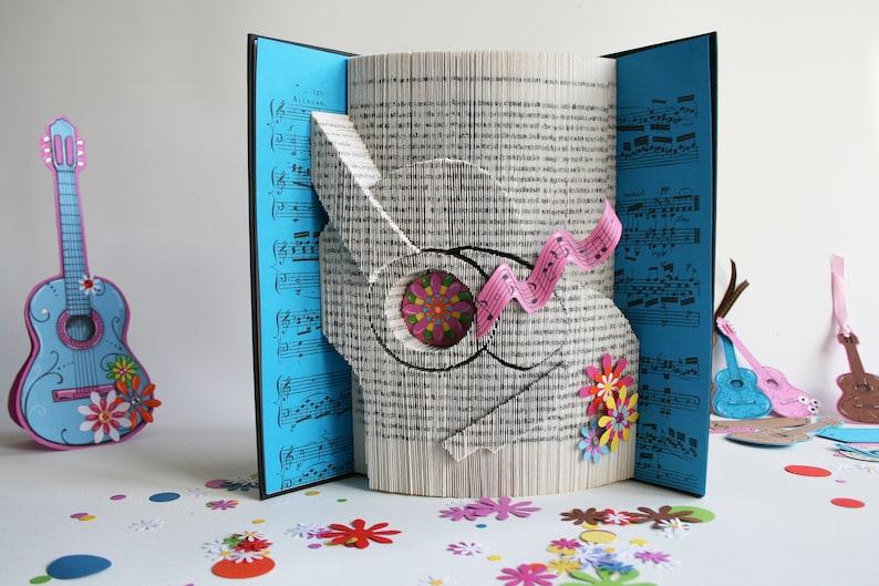 Guitar Book Folding Pattern  Tutorial Cut and Fold Free image 0