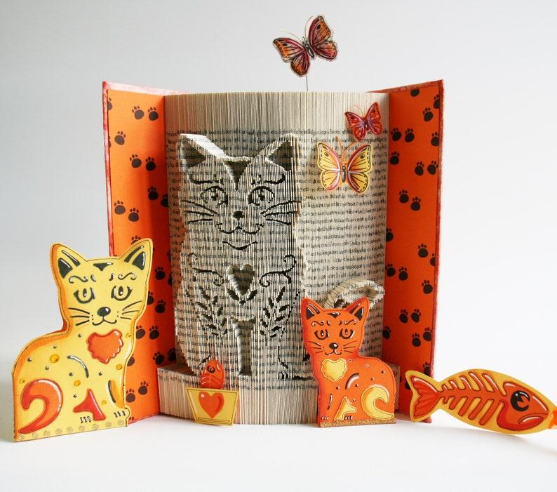 Cat Book Folding Pattern  Tutorial Cut and Fold Free image 0