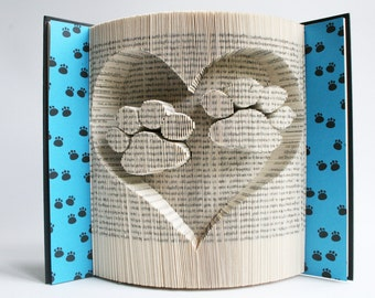 Book Folding Pattern Paw Prints in Heart: Book Folding Tutorial, Cut and Fold, Free printable downloads to personalise your book art