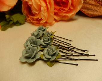 Grey Rose Hairpins X 7 - Hair Accessories - Hair Pins - Handmade Hairpins - Great for bridal use and historical hairstyles
