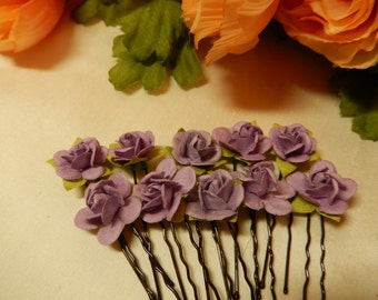 Lavender Rose Hairpins X 10 - Hair Accessories - Hair Pins - Handmade Hairpins - Great for bridal use and historical hairstyles