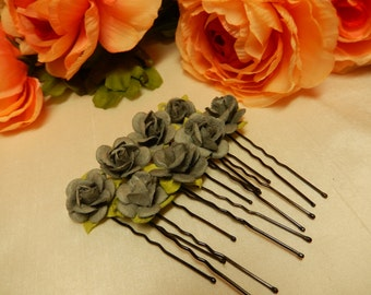 Light Grey Rose Hairpins X 7 - Hair Accessories - Hair Pins - Handmade Hairpins - Great for bridal use and historical hairstyles