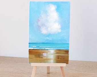 Small floral oil painting Original miniature art Wildflowers art on canvas board Art for desk Mini painting with easel