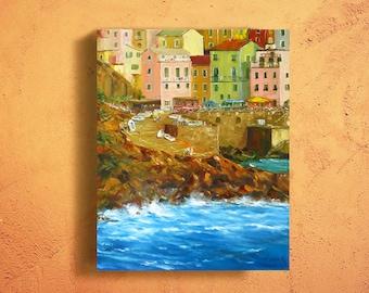 Cinque Terre Manarola oil painting Manarola art Colorful art Large Italy art Italy gift Italian landscape Europe travel gift Italian scene