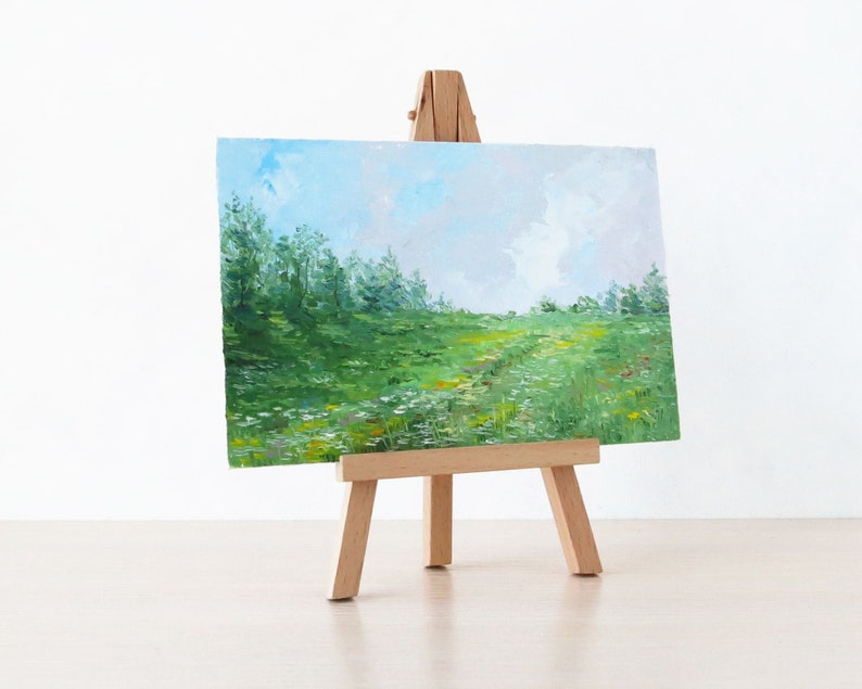 Original Landscape Painting Miniature Painting Nature Art On Easel Wall Art Painting