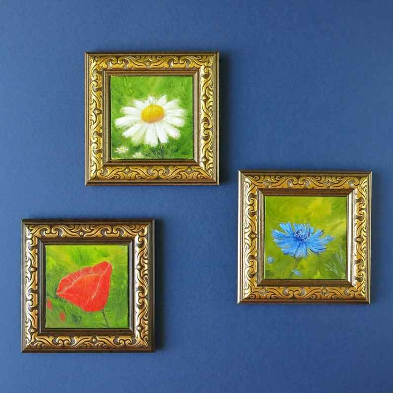Miniature Set Of 3 Wall Art Flower Art Ready To Hang Original Painting Poppy Daisy Cornflower Wall Decor