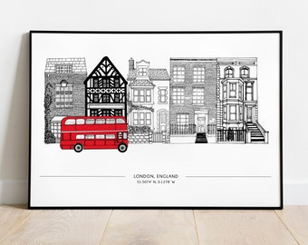 Houses of London | A4 | London print, London Skyline, Art Print, Longitude Latitude Print, British Print, UK Print, architectural print, UK