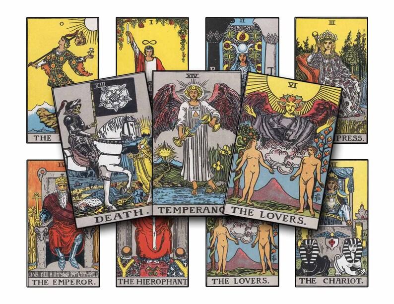 Tarot Fortune Telling Card Clip Art - Digital Download Print - 1910