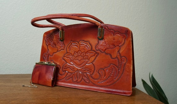 Vintage 1970s Rose Tooled Leather Handbag and Chan