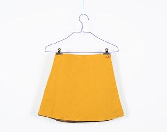 Winding skirt, for turning, cotton, yellow, brown, dots, 2 buttons, elastic waist, comfortable, a rock cut, school uniform, summer skirt, plain