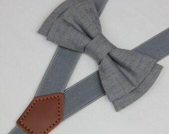 Bow tie suspenders,light Gray boys bow ties,wedding grey suspenders,infant bow ties,toddler bowtie mens bowties,wedding groomsmen bow tie