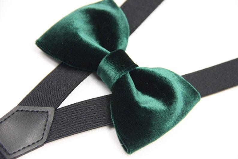 90e9bf3a2790 Suspender Bowtie set dark green velvet bow tie black Suspender   Etsy
