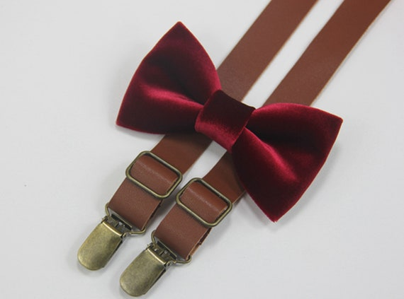 Wine Red Elastic Suspenders for all ages Burgundy Dark Red Velvet Bow tie