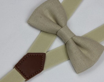 Linen light khaki bow ties,BOWTIE SUSPENDER SET,beige suspenders,men bow ties,baby bow tie,boy bow tie,men bowties,wedding bow tie