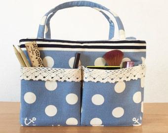 Makeup Organizer, Blue Organizer Bag, purse organizer, Cosmetic Bag, Polka dot bag
