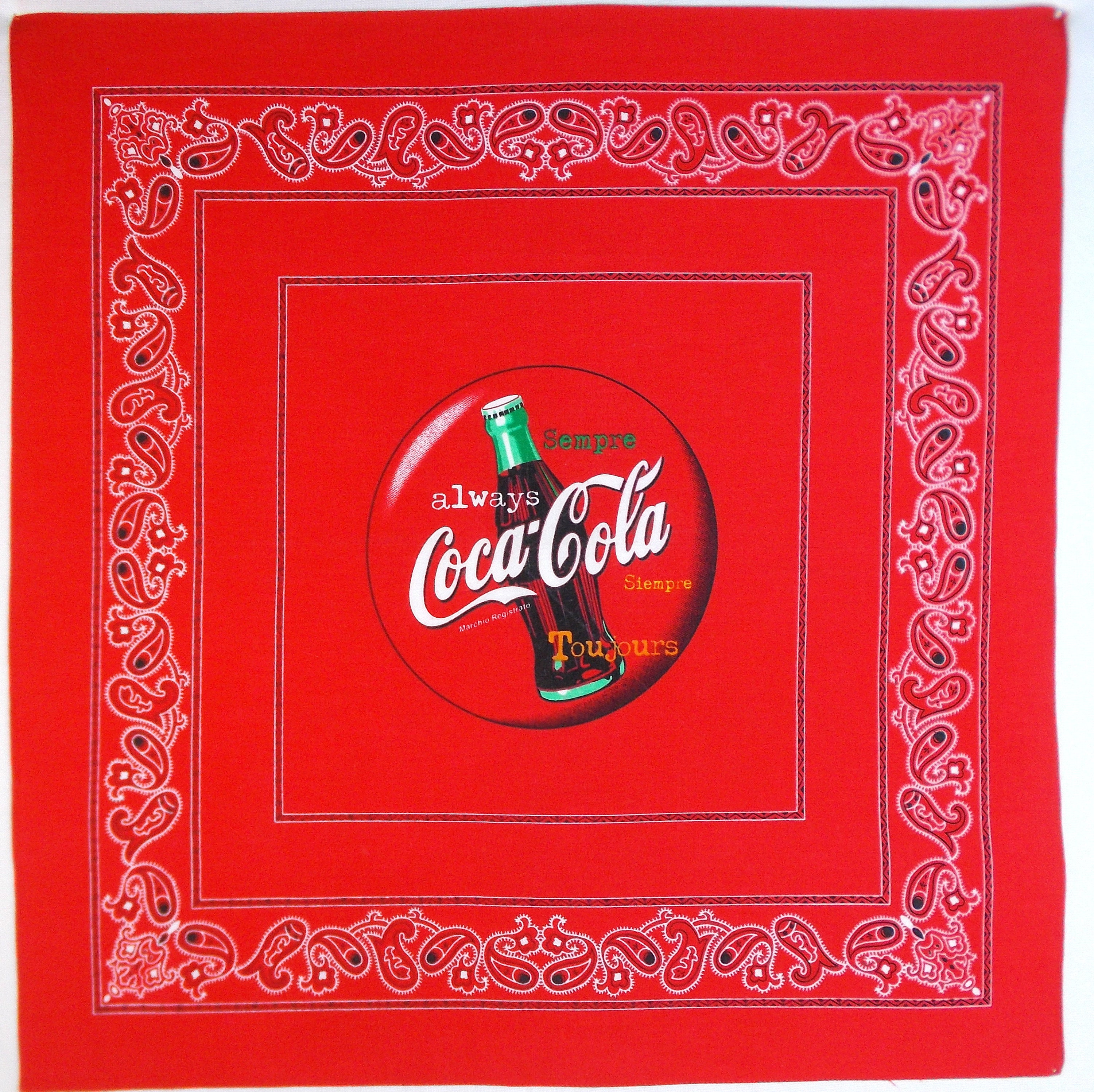 "Coca-Cola 100/% Cotton Bandanna 22/"" by 22/"" BRAND NEW"