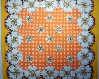 Silk bandana vintage Hippie silk square scarf 60s beauty with white orange yellow and brown flower design 70s boho scarf  (A038)