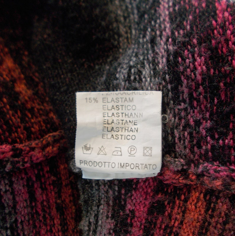 Vintage rainbow cardigan womens knitted  Long sleeve black pink white peach elastane sweater knit size M  L  OW-001