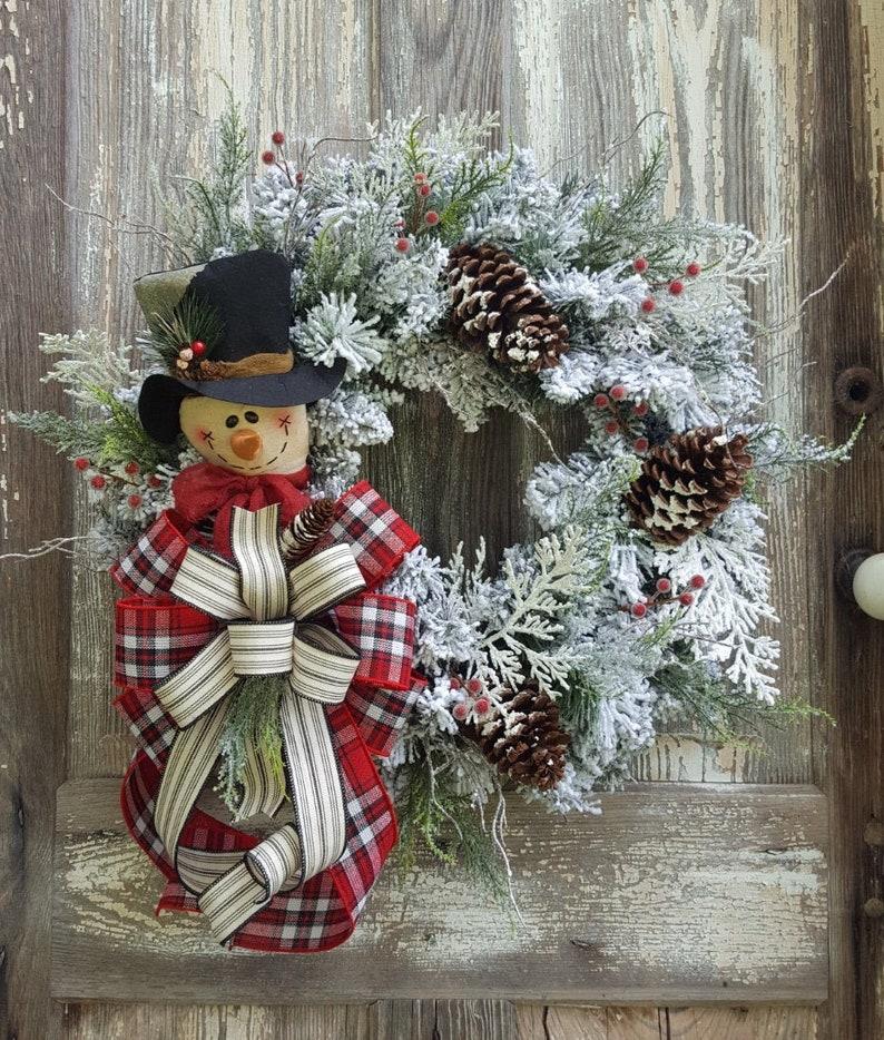 Christmas Snowman Wreath for front door Rustic pinecone berry image 0