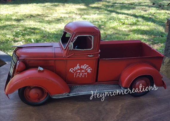 Red Truck Personalized Red Truck Farmhouse Decor Red Truck Etsy