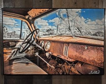 1954 Chevrolet Pickup Interior Art Photograph Print on Canvas