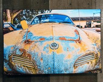 Car Art VW Volkswagen Karmann Ghia Wall Hanging Art Photograph Print on Canvas