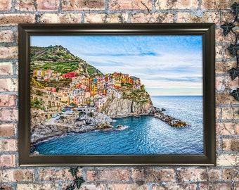 12x18 Manarola Italy Town Photography Art Print Wall Hanging Mixed Media Painting Cinque Terre Ocean