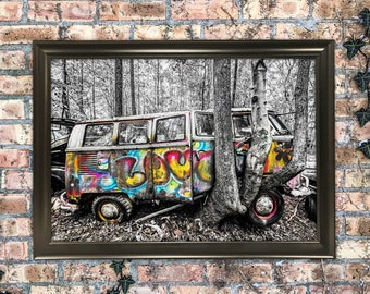 12x18 Forest Hippie Love Bus Photography Art Print Wall Hanging Mixed Media Painting Old Classic VW microbus