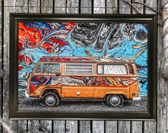 VW Volkswagen Bus Abstract Art Print Wall Hanging Mixed Media 12x18 Earth Tone Old Car Minimalist Photography Painting Drawing