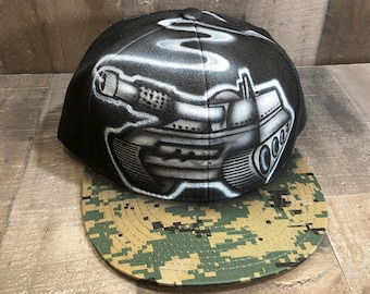 Airbrushed Tank Snapback Hat Hand Painted airbrush