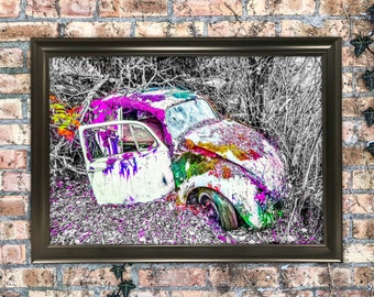 12x18 Colorful Magic Beetle Photography Art Print Wall Hanging Mixed Media Painting Old Classic VW beetle