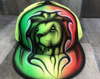 Airbrushed Neon Rasta Lion Snapback Hat Hand Painted airbrush