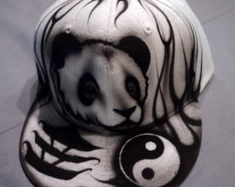 Airbrushed Panda Bear Snapback Hat Hand Painted airbrush 59483f2d4ac