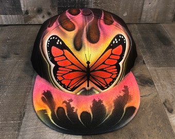 Airbrushed Colorful Candy Butterfly Snapback Hat Hand Painted airbrush Cap
