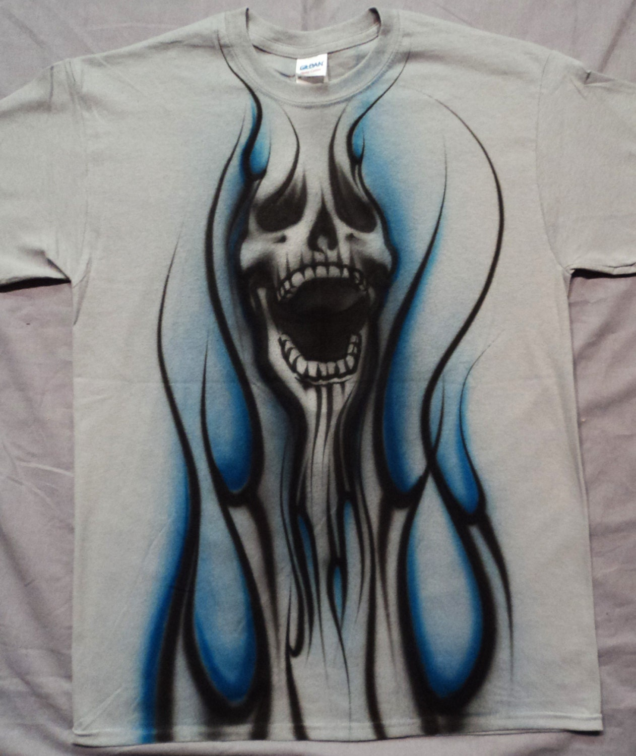 Airbrushed Skull T Shirt Hand Painted Airbrush Etsy
