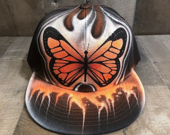 Airbrushed Monarch Butterfly Snapback Hat Hand Painted airbrush