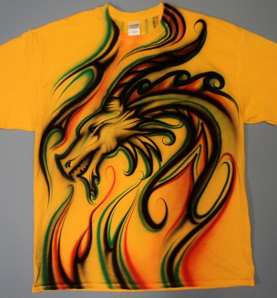 00f5f138 Airbrushed Dragon T Shirt Hand Painted airbrush | Etsy
