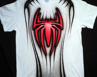 Airbrushed Spiderman T Shirt Hand Painted airbrush