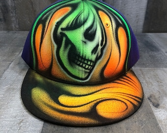 Airbrushed Neon Green And Orange Electric Skull Snapback Hat Hand Painted airbrush
