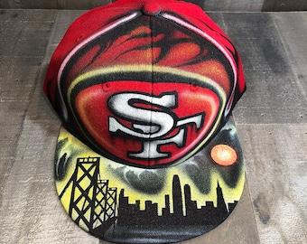 Airbrushed San Francisco California 49ers Snapback Hat Hand Painted airbrush cap