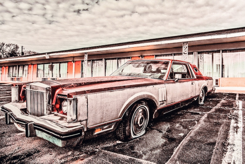 Classic Car Picture 1980 Lincoln Continental Mark VI Wall Hanging Art  Photograph Print on Canvas