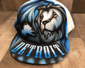 Airbrushed Detroit Lions Snapback Hat Hand Painted airbrush cap
