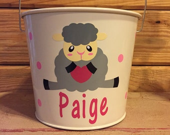 Personalized Easter Bucket | Easter Pail | Easter Bunny | 5 Quart Pail | Easter | Bunny | Lamb | Chick | Metal Pail | Easter Egg Hunt