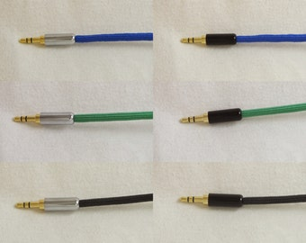 3.5 mm aux cable with slim connectors for phone cases