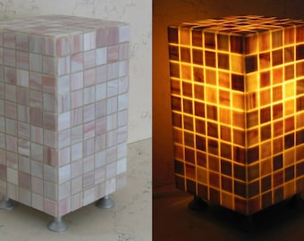 Lamp design made in Italy covered with mosaic in antique vetro_rosa paste