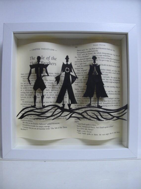 The Three Brothers WHITE frame. Harry Potter framed art