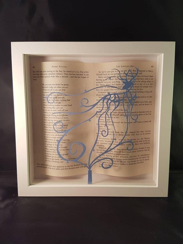 Harry Potter gerahmte Kunst Papierschnitt mit Buchseiten | Etsy