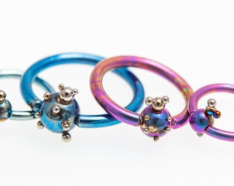 14G Ball Closure Ring. Titanium Captive Bead Ring. Piercing Nose Septum. Hoops Ear Lip. Rings Piercing. Made in Finland